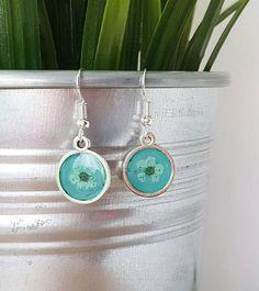 Teal round earrings silver disc earrings circle earrings