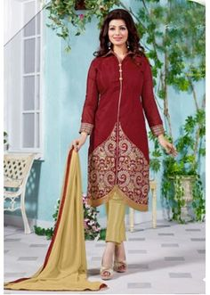 Ayesha Takia In Maroon & Golden Chanderi Salwar Suit  - 13051