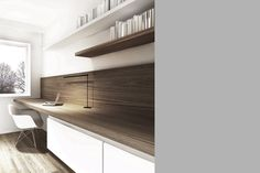 How sharp does the matching laminate on the back look next to the work surface top? Study Room Design, Study Nook, Interior Work, Interior Architecture, Interior Design, Bureau Design, Home Office Design, House Design, Office Workspace