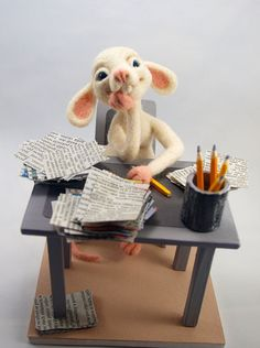 Office Rat. Needle Felted Rat Wool Soft Sculpture by FluffyFuzzy, $80.00