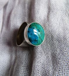 Turquoise colored  stone and silver ring  peruvian by PeruNz, $49.00
