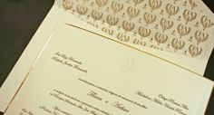 Invitation by Dom Bosco Festas. Gold lining. Golden initials of the bride and groom (Flavia & Arthur) proeminence. relief. raised. monogram embossed crest. envelope
