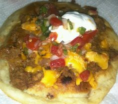 Bean and beef chalupa on a flour tortilla. Kinda like a Navajo taco. Mmmmm