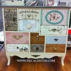 Cool drawers Decoupage Furniture, Funky Furniture, Refurbished Furniture, Miniature Furniture, Paint Furniture, Repurposed Furniture, Furniture Projects, Furniture Makeover, Shabby Chic Chairs
