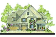 French Country Plan: 3,925 Square Feet, 4 Bedrooms, 3.5 Bathrooms - 402-01098