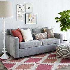 "Henry Sofa #WestElm. $1100. Linen Weave, natural. 86"" wide 36"" deep"
