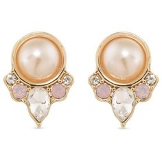 Carolee Light Pink Gold Tone Radio City On Clip Earrings 30