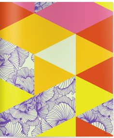 pink, yellow, red triangles with purple