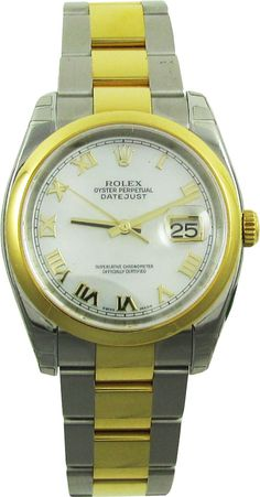 E.D. Marshall Jewelers pre owned Men's Rolex Datejust 116203 automatic 36mm. Functions include; hours, minutes, seconds and date at 3. The case material is 18kt yellow gold with a gold crown. This men's Rolex Datejust 116203 has a smooth 18kt yellow gold bezel, white dial & roman markers. The two tone 18kt yellow gold & stainless steel Oyster bracelet has a deployment clasp. This watch is water resistant (up to 100 meters) has a scratch resistant sapphire crystal, and is Swiss made.