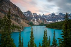 Post-sunset at Moraine Lake in Alberta Canada. Photographed by Johny Goerend. [1500 x 1000]