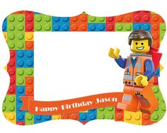 Lego Photo Booth Frame for Birthday Party digital by DreamPaperCo