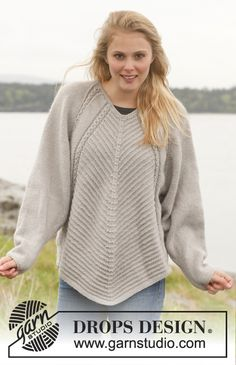 """Greenland - Knitted DROPS jumper with textured pattern, wide sleeves and deep raglan in """"Lima"""". - Free pattern by DROPS Design Sweater Knitting Patterns, Knitted Poncho, Crochet Shawl, Knit Patterns, Free Knitting, Knit Crochet, Drops Design, Raglan Pullover, Popular Hats"""