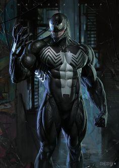 Venom by Alex Malveda - Marvel Comics. Spiderman Venom, Spiderman Kunst, Marvel Venom, Mcu Marvel, Venom Comics, Marvel Comics Art, Rogue Comics, Batman Comic Art, Marvel Comic Universe