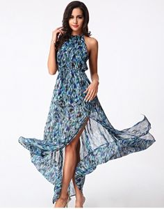 2016 Moda Estilo Mulheres Praia Chiffon do Tornozelo-Comprimento Vestido Floral Impressão Maxi Vestido Longo Sem Mangas Vestido de Festa Plus Size