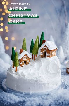 This alpine village inspired Christmas cake recipe uses a really simple trick to create the little mountain. The chalets are made from our gingerbread recipe. Christmas Cake Designs, Christmas Cake Decorations, Christmas Sweets, Holiday Cakes, Christmas Cooking, Noel Christmas, Christmas Cakes, Christmas Themed Cake, Xmas Cakes