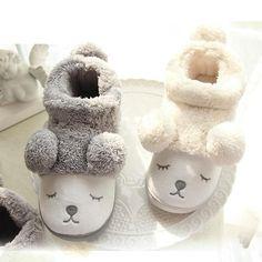 913778bd69839 Cute Cartoon Bear Winter Women Men Couples Warm Plush Home Slippers For Indoor  House Bedroom Plush Pantufa(China)