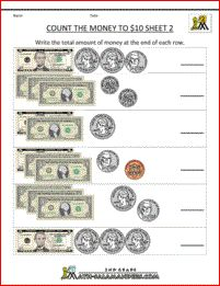 Counting Money worksheets to $2 sheet 1 | Math Teaching Ideas ...