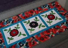 Quilted Table Runner  Applique Rose of Sharon by PatsysPatchwork, $35.00
