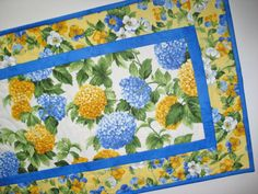 Floral Table Runner Spring Summer quilted by PicketFenceFabric
