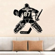Personalized Hockey wall sticker for your room! Design your room with hockey player sticker on the wall. It is so easy to upload and also it is super easy to take off, without any scratch on your wall. Hockey Goalie, Hockey Mom, Hockey Players, Ice Hockey, Funny Hockey, Wall Stickers Room, Wall Decals, Hockey Bedroom, Hockey Gifts