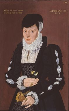 "British School 16th century 'Portrait of a Lady', 1576. Tate Gallery. Per S. Levey in Lace: A History, ""not impossible that the fine cutwork edging on the lacis partlet worn [in this portrait] was of her own making, together with the needlw-made points worked in white on her ruffs and in black on the cuffs of her shift."" p.12"