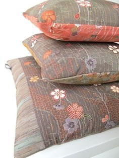 Autumnal Double Sided Floral Stripe Cushion from Vintage Japanese Kimono Silk