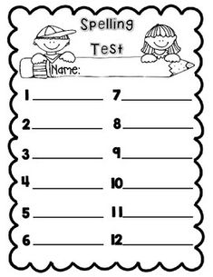 Spelling Test Paper  Words  Invitation Templates Designsearch