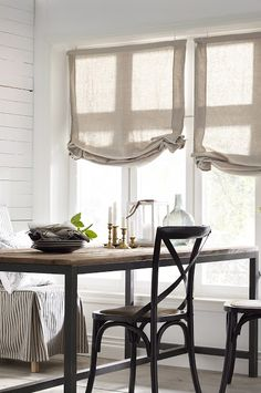I need a relaxed roman shade like this one for my kitchen window! Like a feed bag or something cool. Maybe there is a way to customize one.