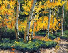 Autumn Aglow Oil Canvas 16 x 20 original landscape oil painting impressionism aspens birch trees by Carl Bork. $150.00, via Etsy.