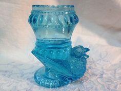 Set of 2 Vintage Blue Aqua Glass by SecondhandFancyAli on Etsy, $8.00