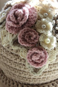 Shabby Chic Tea Cosy by Woolly-Wisp on Facebook.--pinned for the detail!