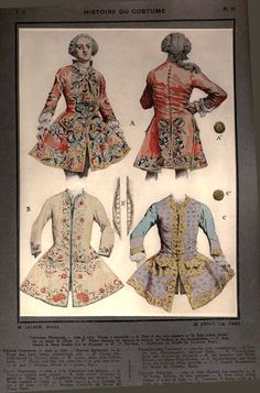 French sleeved waistcoats 1720-25 from the Musee du Costume, Paris Galliera. Patterns and Pictures from Maurice Leloir's Histoire du Costume, Volume 10, 1678-1725 .....by Maurice Leloir (French 1853-1940)