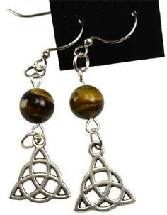 Tigers Eye Triquetra Earrings -- Check out the image by visiting the link.