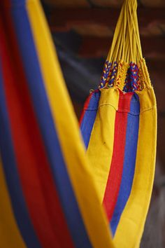hammock done in the Colors of the Colombian Flag Colombian Flag, Colombian Culture, Colombia South America, Colombia Travel, Beautiful Places To Visit, Ecuador, Hammock, Relax, Ocean Photography