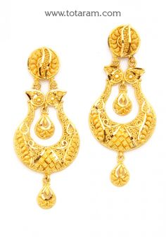 ChandBali Earrings - 22K Gold Drop Earrings: Totaram Jewelers: Buy Indian Gold jewelry & 18K Diamond jewelry Gold Temple Jewellery, Gold Jewellery Design, Gold Jewelry, Diamond Jewelry, Gold Earrings For Women, Gold Earrings Designs, Gold Jhumka Earrings, Gold Drop Earrings, Gold Mangalsutra Designs