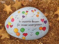 Painted Rocks, Hand Painted, Balloon Painting, Grave Decorations, Memorial Stones, Rock Painting Designs, Rock Design, Good Deeds, Anton