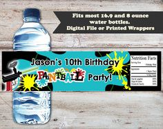 Paintball Water Bottle Labels, Paintball Water Bottle Wrappers, Paintball Birthday Party Favors, Paintball Birthday Party, Water Labels by PartiesR4Fun on Etsy https://www.etsy.com/listing/465814842/paintball-water-bottle-labels-paintball