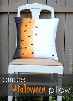 Cute pillow: Ombre Halloween Pillow Using RIT Liquid Dye, via www.sasinteriors.net  Think I would skip the die and use fabric paint on wet fabric. Gotta be less mess.