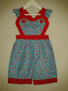 Retro Kitty Cherry Pie Sweetheart overalls.