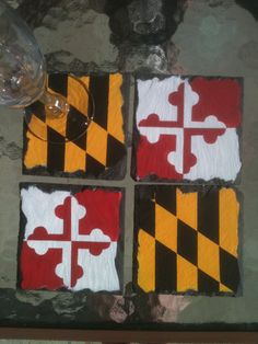 Maryland Flag Hand Painted Slate Coaster Set by GeoArtifacts