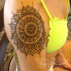 Organic Henna Products.  Professional Henna Studio. KonaHenna.com #mandala #shoulderhenna #yellowbathingsuit