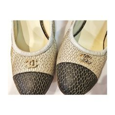 """CHANEL Embellished Satin Pumps, Euro41 REDUCED: FINAL&LOWEST PRICE is LISTED,FIRM. Authentic CHANEL heels.Beige w/gold mesh overlay &black round-toe caps.Gold toned CCs w/pearl embellishment at front.Has elastic trim. GUC: missing 1pearl in each CC, wear at soles &heel. Stunning& a GREAT buy!! Comes w/original box&shoe bags. Plz know your size: Marked size 41 but fit MUCH smaller, more of a 9/9.5. Heel height: 3.5"""". **NO TRADE/PP** Originally purchased for over 1K (925retail price +tax) at…"""