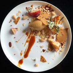 #valrhona dolce chocolate ice cream, dolce salted caramel,roasted white peach & Almond @ #philskitchennz