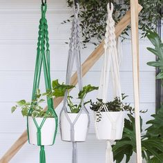 """""""The Single Twist plant hanger now comes in various cotton fibres:  Emerald Green  Grey Marle  Natural Cotton  They can be ordered separately or as a…"""""""