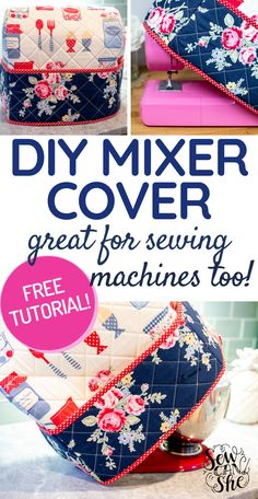 If you value your kitchen and home appliances, you'll do everything to protect and take care for them so they will last long. Protect your appliances from dust and dirt by covering them. We share with you our free sewing pattern so you can make your own kitchen mixer cover or sewing machine cover. You can design them any way you want like put on some extra pockets if you want. Check out how we DIY it. #clothcover #mixercover #sewingmachinecover #appliancecover #howtosew #diy #easysewing Small Sewing Projects, Sewing Projects For Beginners, Sewing Hacks, Sewing Tutorials, Sewing Ideas, Diy Projects, Sewing Patterns Free, Free Sewing, Pattern Sewing