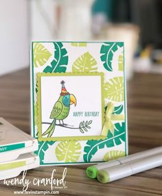 Bird Banter stamp set from Stampin UP! with copic coloring and background stamping #stampinup #backgroundstamping Wendy Cranford www.luvinstampin.com