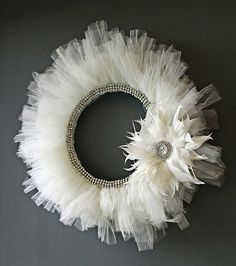 What a beautiful handmade wreath!  This wreath is beautiful for a winter wedding or to hang on the back of teh bride's chair!