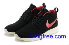 Verkaufen billig Schuhe Herren Nike Roshe Run (Farbe: Vamp - schwarz, innen, Logo - rot; Sohle - weiB) Online in Deutschland.