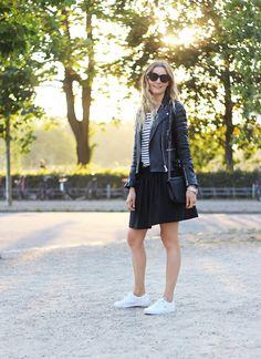 Stripes and skater skirt