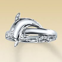 sterling silver diamond accent dolphin ring. I need this.